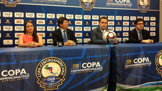 Cup press conference (L-R) Tigo's Nathalie Jacob, Rolando Lopez Sanders (UNCAF Member of Executives), Rafael Tinoco (UNCAF President) and Mario Monterrosa (UNCAF General Secretary).